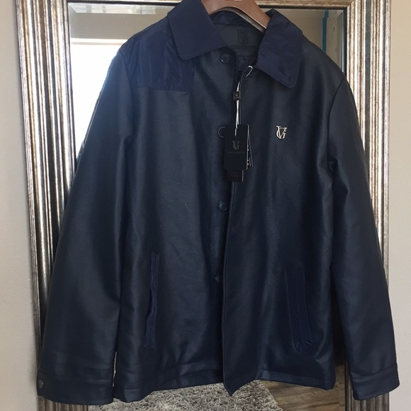16146075d56 Navy Blue Men s leather Jacket. NWT. VG World Collection